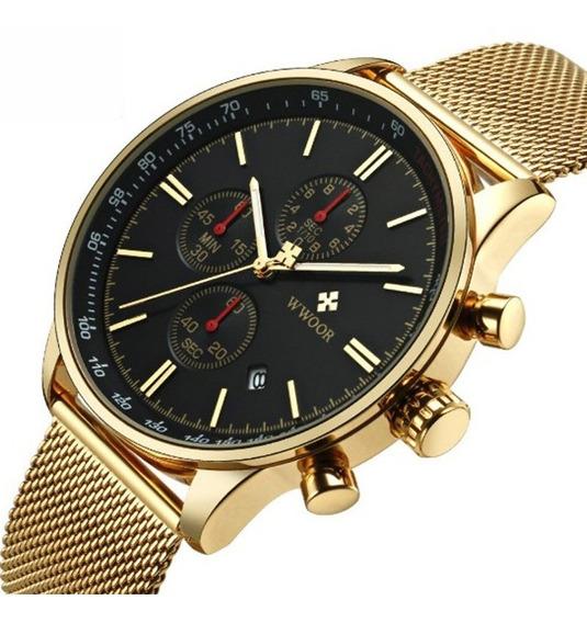 Relógio Masculino Wwoor Quartzo Dourado A Pronta Entrega