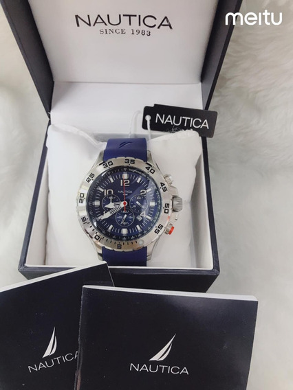 Relógio Dn08 Azul Náutica Puls. Borracha Linha Esporte Promo