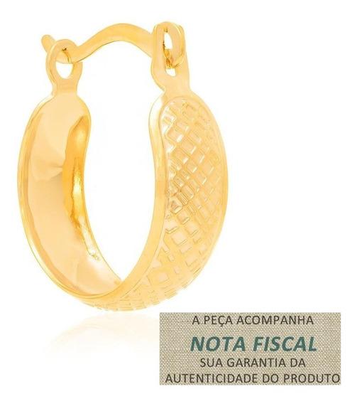 Brinco Argola Rommanel Trabalhos Em Quadrados Ouro 524033