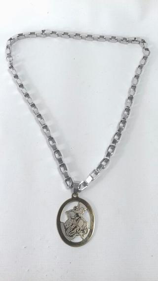 Cordão Aço Com Medalha São Jorge