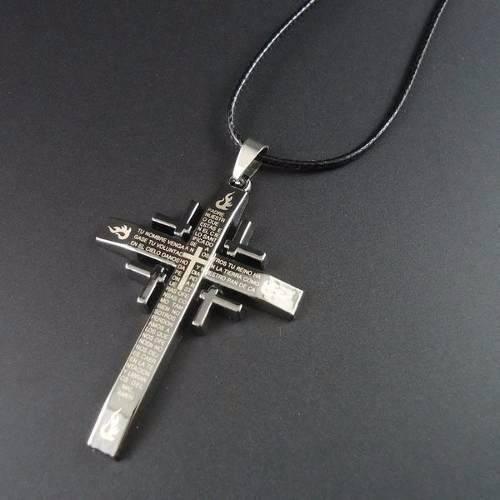 Colar Masculino Feminino Couro Pingente Cruz Crucifixo