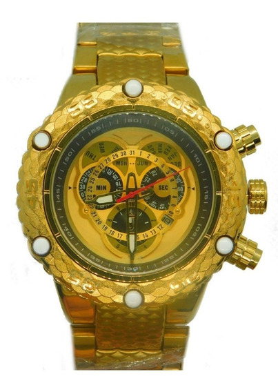 Relógio Masculino Top Pesado Aço Inoxidável Dourado Na Caixa