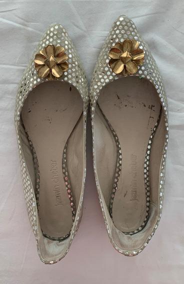 Jazmin Chebar. Zapatos Plateados. Talle 39 (con Detalle)