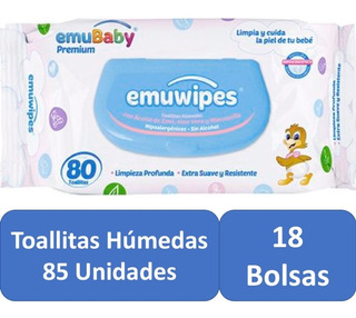 Toallitas Humedas 18 Bolsas 85 C/u Pack 170 Emuwipes Premium