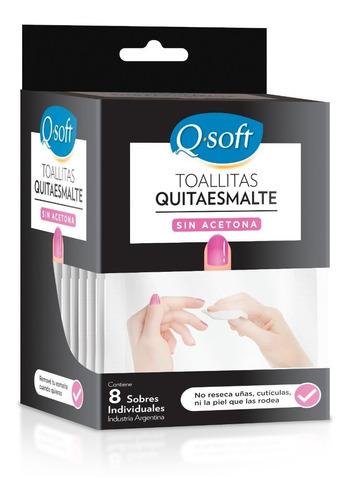 Imagen 1 de 2 de Toallitas Quitaesmalte Q-soft Sin Acetona (18 Paquetes)