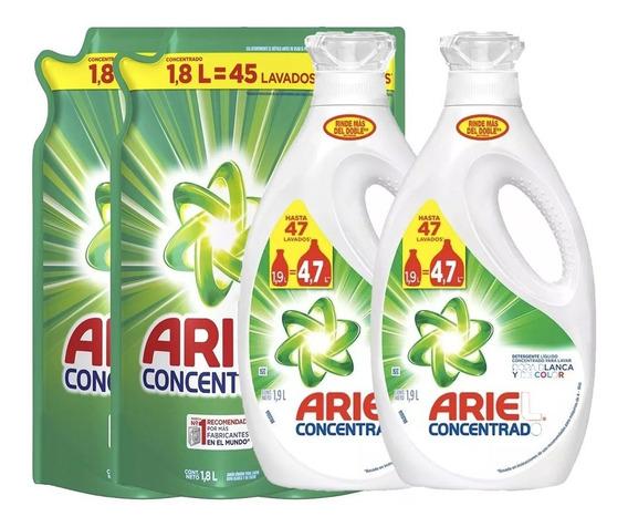 Pack 2 Detergente Ariel 1,9lt + 2 Recargas Ariel Ultra 1,8lt