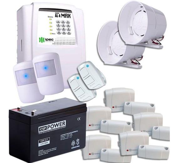Kit Alarme Sem Fio 2 Sirenes Controles Sensores E Bateria