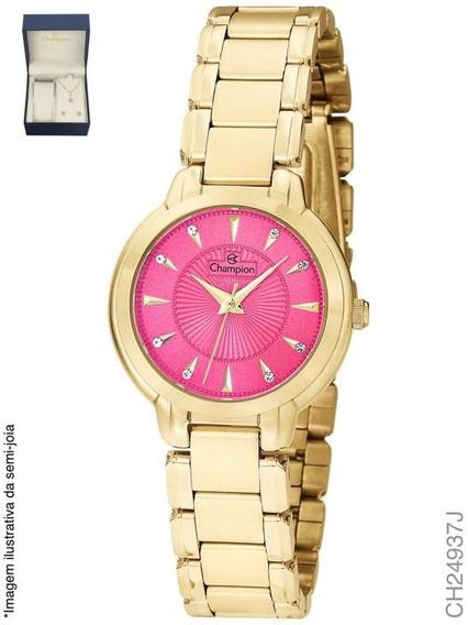Relógio Feminino Dourado Champion Ch24937j + Colar E Brinco