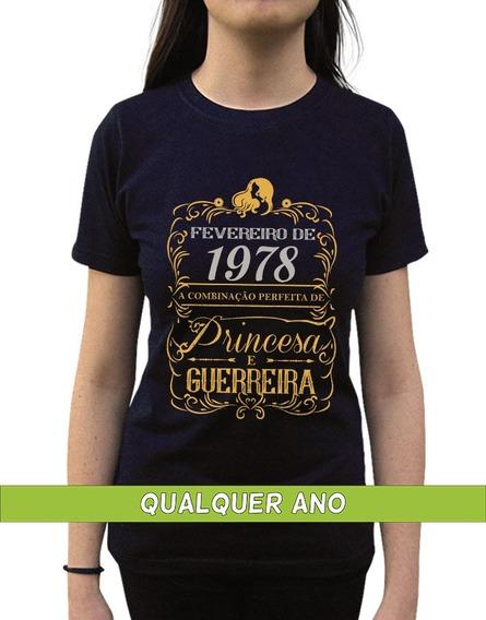 Camiseta Princesa Guerreira Fevereiro Personalizada Com Ano