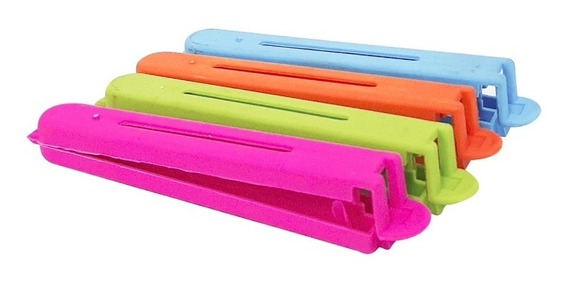 Broches Cierra Bolsa Colores Pack X4 Unds