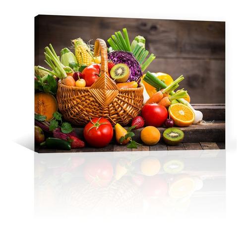 Imagen 1 de 10 de Cuadro Decorativo Comida Canvas Frutas Y Verduras En Canasto