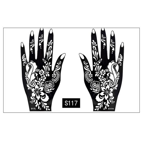 1 Par Menina M?os Pintura Tatuagem Estncil Flor Rosa Renda