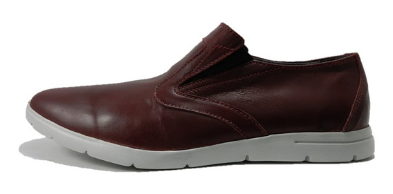 Zapato Mocasin Morris Cuero Bordo 3781