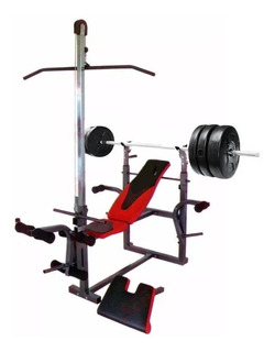 Kit Banco Multigimnasio Scott + 50 Kg Pesas Barra Mancuerna