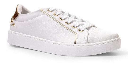 Tênis Feminino Vizzano Casual Branco Metais Dourados Perfect