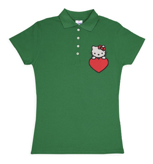 Playera Polo Hello Kitty Corazon Colores Bordada Opcion Personalizada