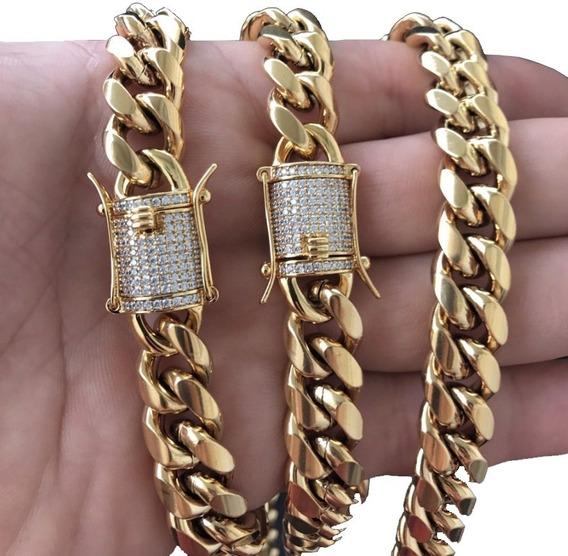 Cadena Choker 46cm Broche Diamantado Cubana Oro Laminado