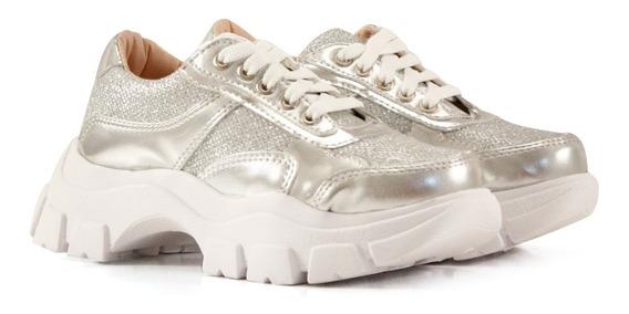 Zapatillas Para Nenas En Plata De Niñas