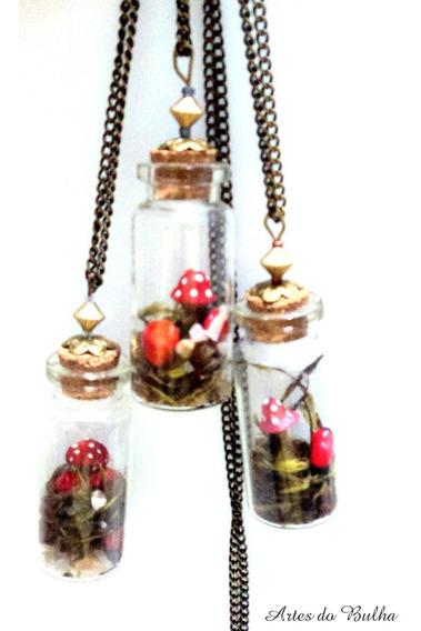 Colar Vidrinho,garrafinha,jardim Com Cogumelos E Sementes