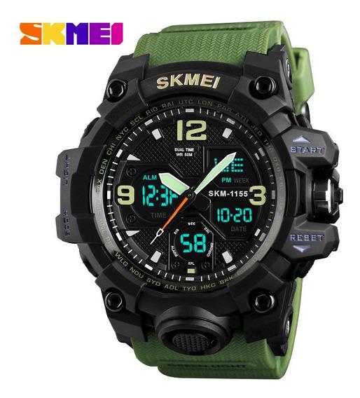 Relógio Estilo Militar Skmei 1155 Analógico E Digital Barato Resistente A Shock