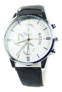 Reloj Hombre Yager Con Calendario Cuerina Importado Colores