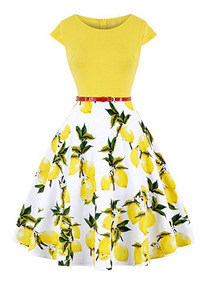 Vestido Estampado Flor Dulce Vintage