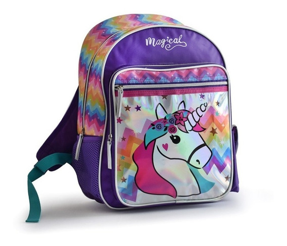 Mochila Espalda Unicornio Holografica Escolar 16 Pulgadas