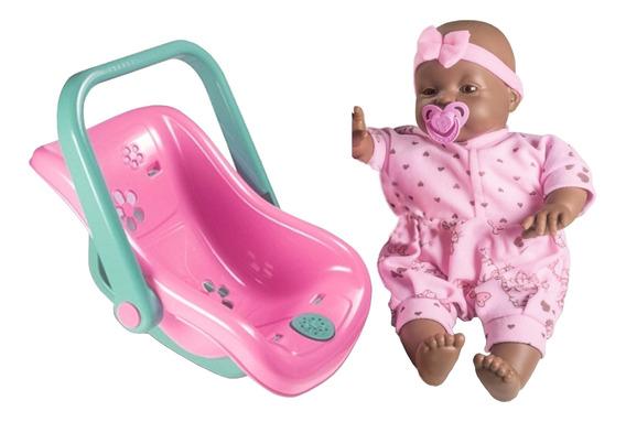 Boneca Com Bebê Conforto Musical Menina Negra - Nova Toys