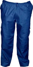Pantalon Cargo Forro Polar, Poplin Térmico Azul Premium