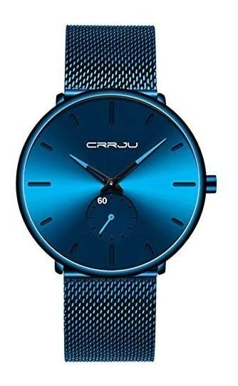 Crrju Reloj Metálico Hombre Elegante, Minimalista (azul)