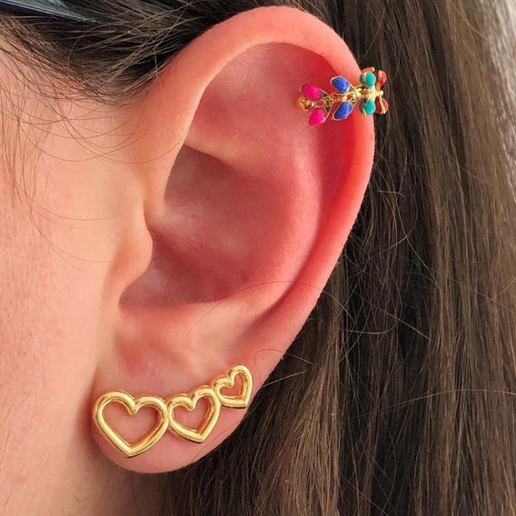 Piercing Orelha Conch Cartilagem Pressão Falso Dourado Color