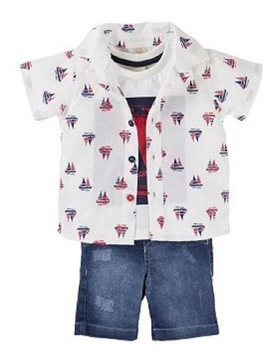 Conjunto Bebê Menino 3 Peças Bermuda/camisa/camiseta Dindon