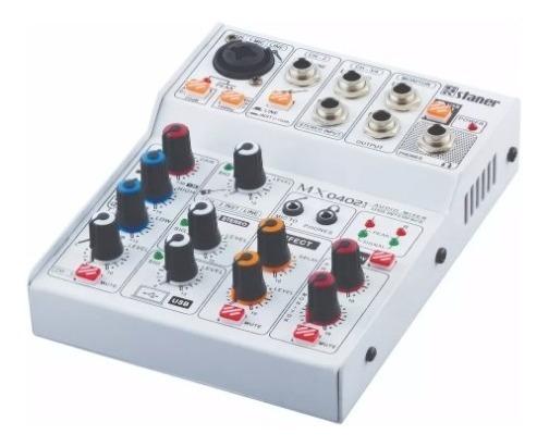 Mixer Staner 4 Canais Mx-0402i Audio Mixer Usb Interface