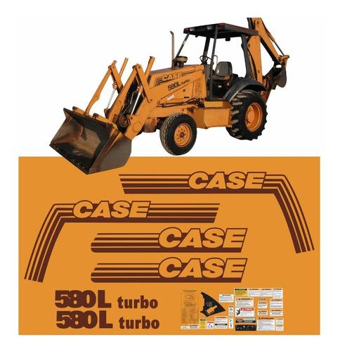 Kit Adesivos Retroescavadeira Case 580l Turbo + Etiquetas Mk