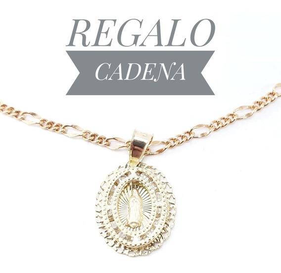 Hermosa Medalla Virgen Oro 10k Bautizo Y Cadena De Regalo