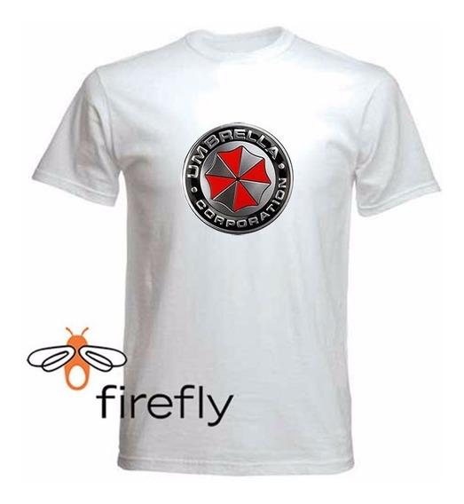 Remera Resident Evil Umbrella Hombre Blanco Col 2 Firefly