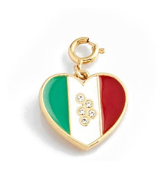 Nice Dije Corazon Tricolor Mexico Con Cristales Baño Oro18k