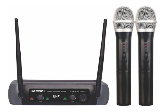 Microfone Sem Fio Duplo Ksr Uhf Mão Camera Tipo Lyco Karsect