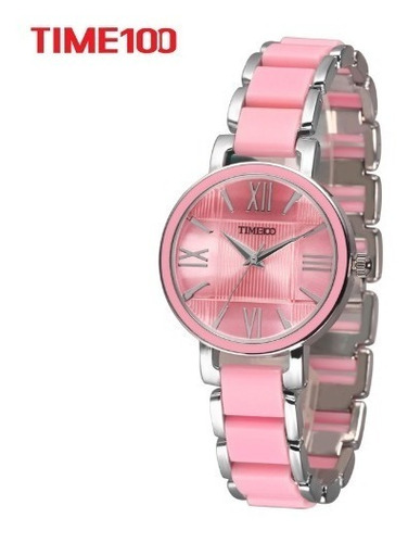 Relógio Feminino Time100, Rosa Simulado Pulseira De Cerâmica