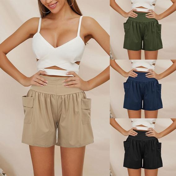 Mulheres Solto Grande Legs Bermudas Elástico Na Cintura Poc