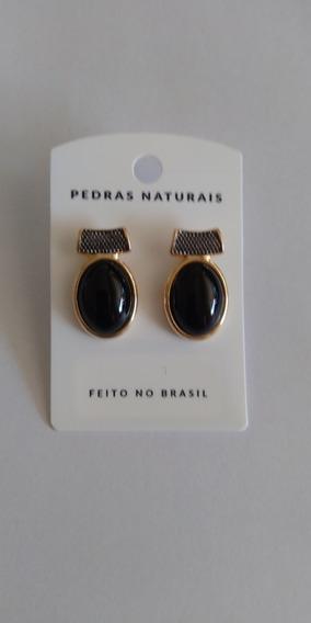 Brincos De Pedra Brasileira Natural Folheados A Ouro