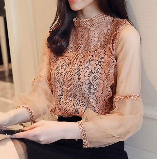 Camisa Renda Princesa Blusa Feminino Social Elegante