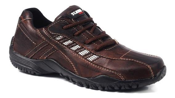 Sapatênis Sapato Cadarço Couro Masculino Comfor Lancamento