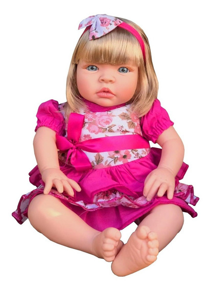 Boneca Bebe Reborn Barato Super Promoção Baby Kiss Loira