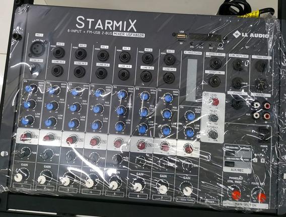 Mesas De Som Linha Starmix Bt Efeito Usfx802 Bt - 8 Canais