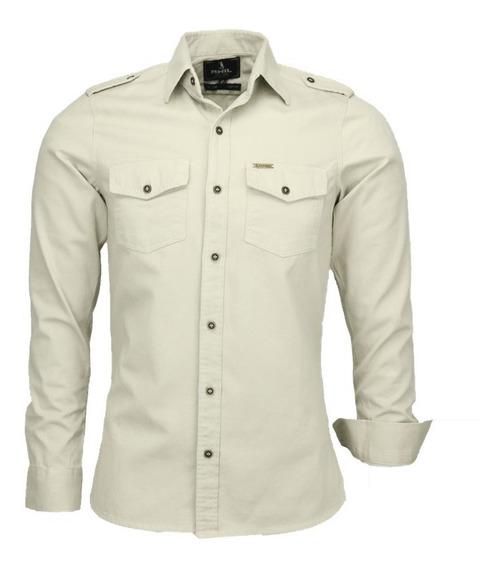 Camisa Paris Estilo Militar Slim Manga Longa - Prata - Ref
