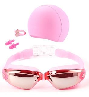 Set De Natacion Goggles Con Gorro Y Clip Rosa D3074