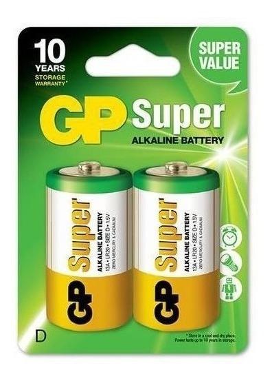 2 Pilhas Gp Alcalinas D Super Atacado Revenda Cartela Com 2