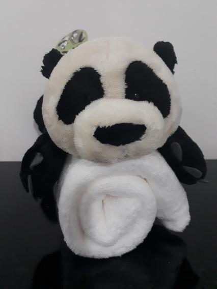 Urso Panda 30cm + Manta Anti-alérgica Presente Recém Nascido