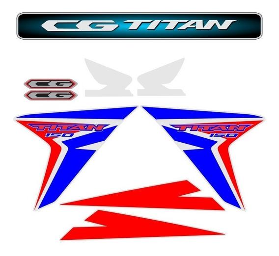 Adesivo Faixas Emblema Cg Titan 150 2014 2015 Personalizado
